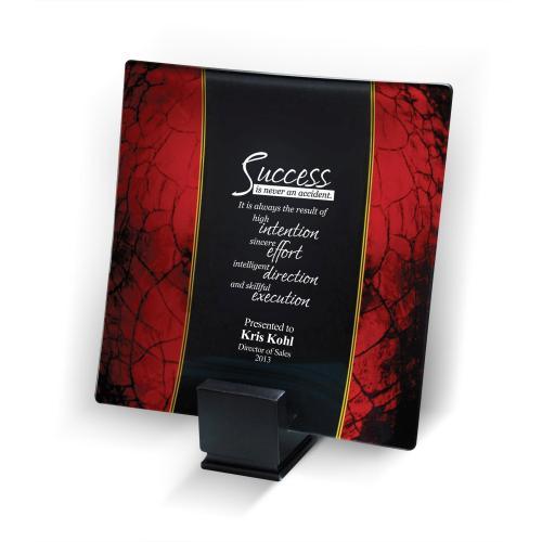 Red Art Glass Award Plate