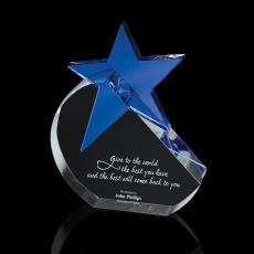 Colored Glass and Crystal Awards - Cobalt Crystal Star Award