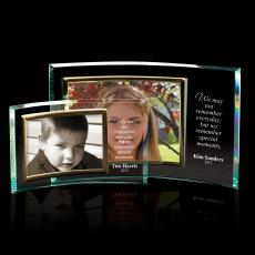 Glass Awards - Landscape Curved Jade Glass Picture Frame