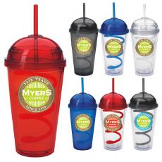 Drinking Glasses - Dome - Dome Tumbler with Curly Straw - 18 oz with fun dome & curly straw