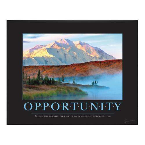 Opportunity Mountain Fog Motivational Poster