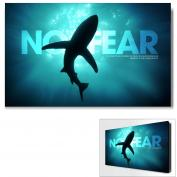 No Fear Shark Infinity Edge Wall Decor Modern Motivational Poster (703784) - $139.99