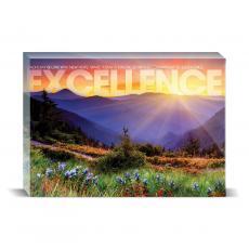Modern Motivation - Excellence Sunrise Mountain Desktop Print