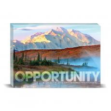 Modern Motivation - Opportunity Mountain Fog Desktop Print