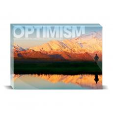 Modern Motivation - Optimism Mountain Desktop Print