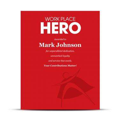 Workplace Hero Industry Award Plaque
