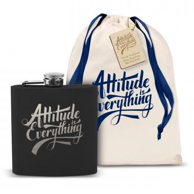 Attitude is Everything 6oz Black Flask