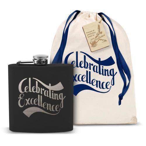 Celebrating Excellence 6oz Black Flask