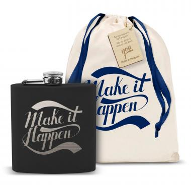 Make It Happen 6oz Black Flask
