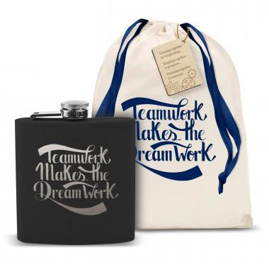 Teamwork Dream Work 6oz Black Flask