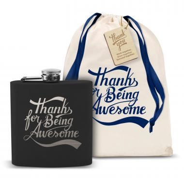 Thanks for Being Awesome 6oz Black Flask