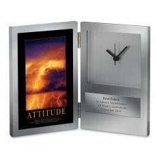 Engraved Clock Awards - Attitude Lightning Desk Clock