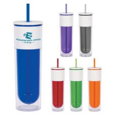 Drinking Glasses - 16 oz. Quench Bottle with Lid and Straw, double wall and colored inner wall