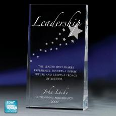 Glass Trophies - Leadership Wedge Glass Award