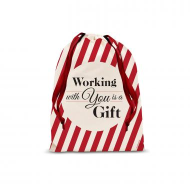 Working With You Drawstring Holiday Gift Bag